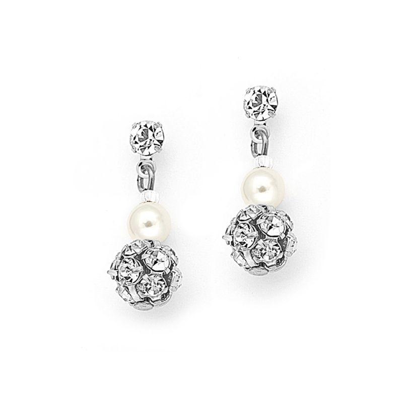 Dainty Pierced Or Clip Bridal Earrings With Pearl & Rhinestone Fireball