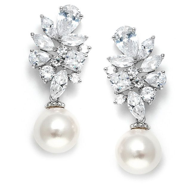 Mariell Bold Cz Cluster Wedding Bridal Earrings With Ivory Pearl Drops - Genuine Platinum Plated
