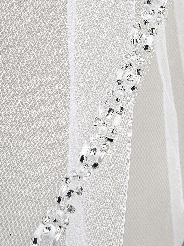 Rhinestone Edge Wedding Veil With Pearls & Beads - White