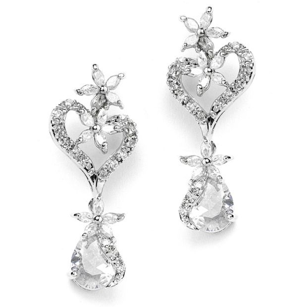 Cubic Zirconia Heart Shaped Wedding Earrings With Flowers And Pears