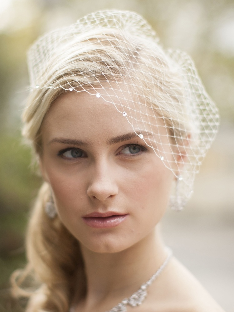 Ivory French Net Bridal Blusher Birdcage Visor Veil With Crystals