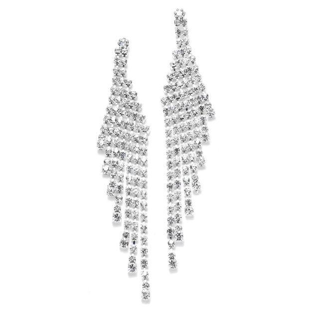Cascading Rhinestone Prom Or Wedding Earrings