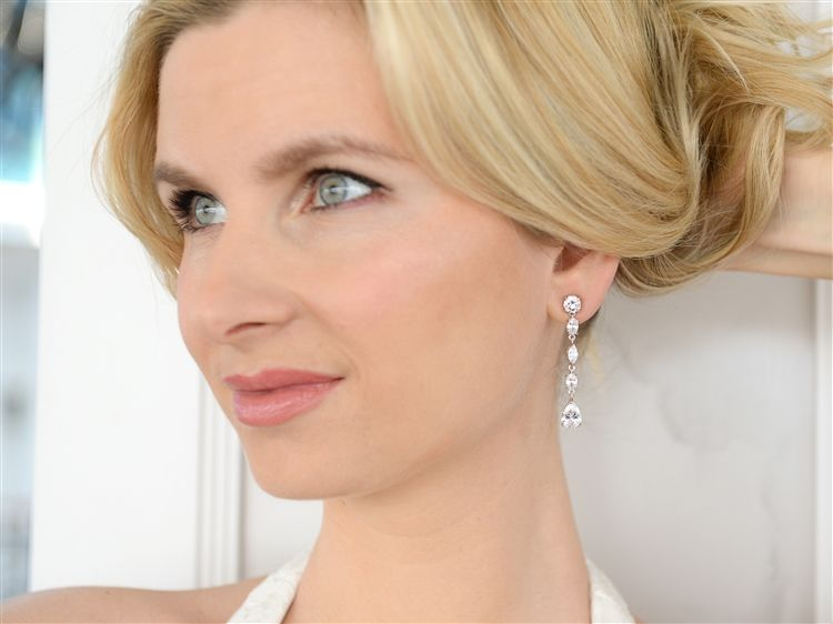 Linear Cubic Zirconia Wedding Or Prom Dangle Earrings