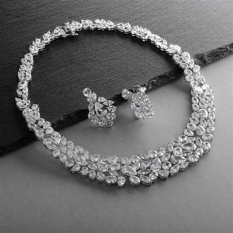 Cz Statement Necklace And Earrings Set For Weddings, Brides, Pageants