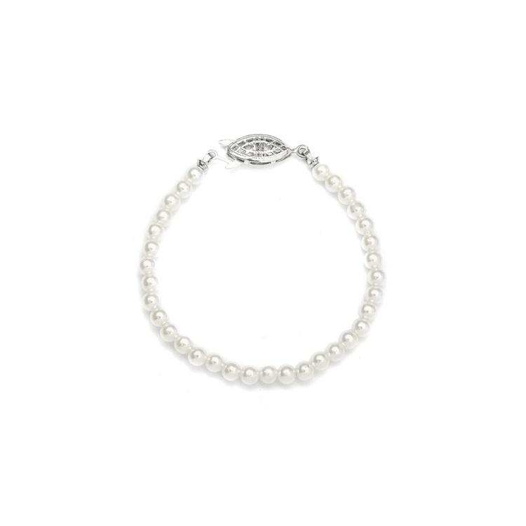 "Single Strand Petite 4Mm Pearl Wedding Bracelet - 6""/Ivory/Silver"