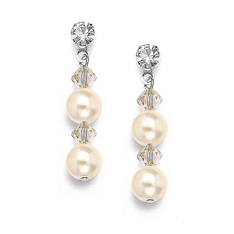 Pearl & Crystal Dangle Wedding Earrings - Honey - Pierced