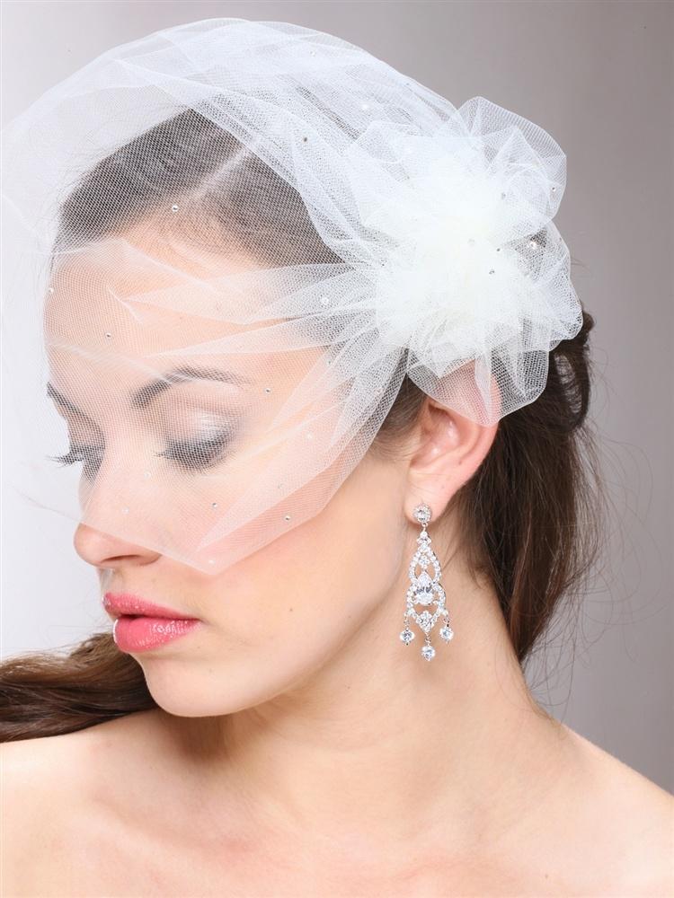 White Tulle Birdcage Veil With Side Pouf & Swarovski Crystals