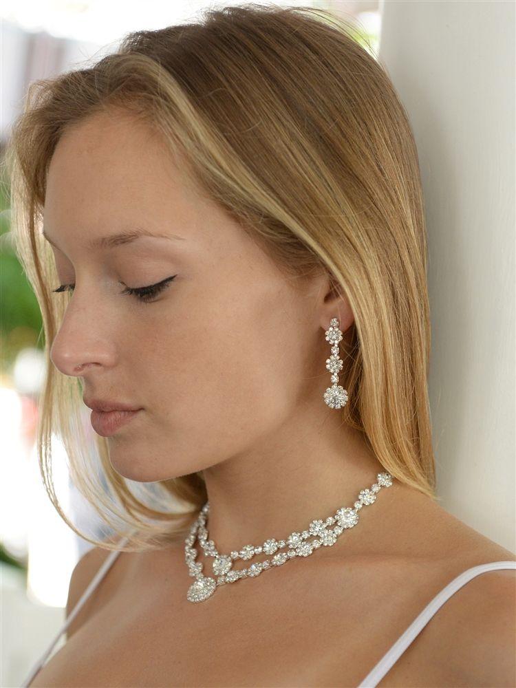 Best Selling Regal Silver 2-Row Rhinestone Necklace & Earrings Set