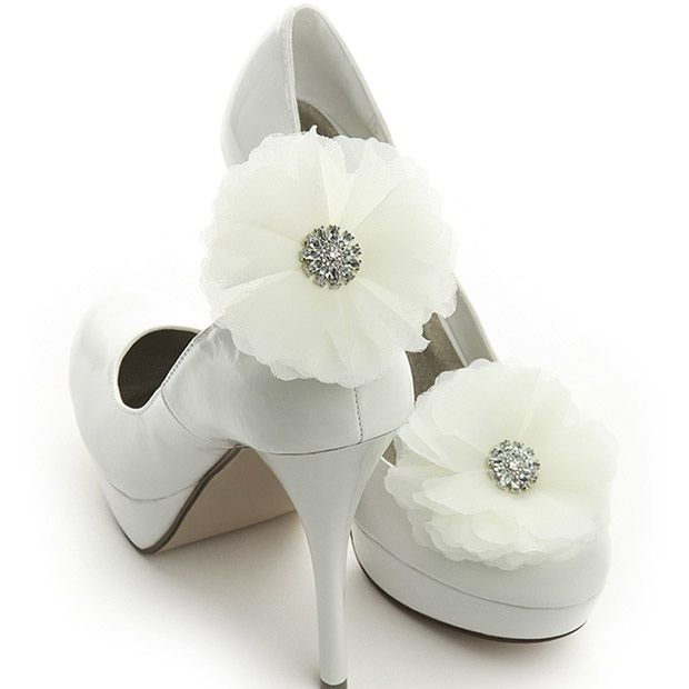 Ivory Tulle And Crystal Bridal Shoe Clip