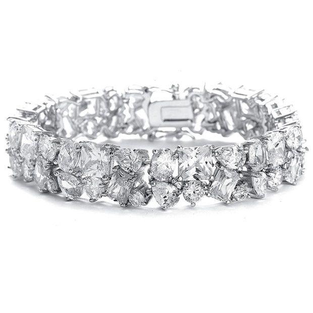 Bedazzling Wedding Bracelet In Multi Shaped Cz