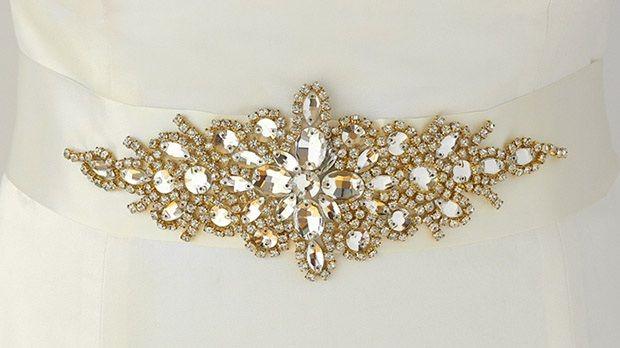 Opulent Ivory Satin Bridal Sash With Gold And Crystal Starburst