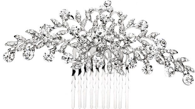Popular Crystal Wedding Or Prom Comb With Shimmering Leaves