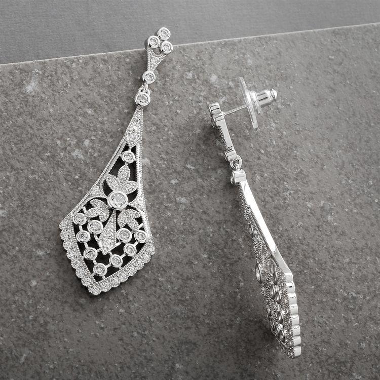 Dramatic Vintage Bridal Earrings In Cubic Zirconia