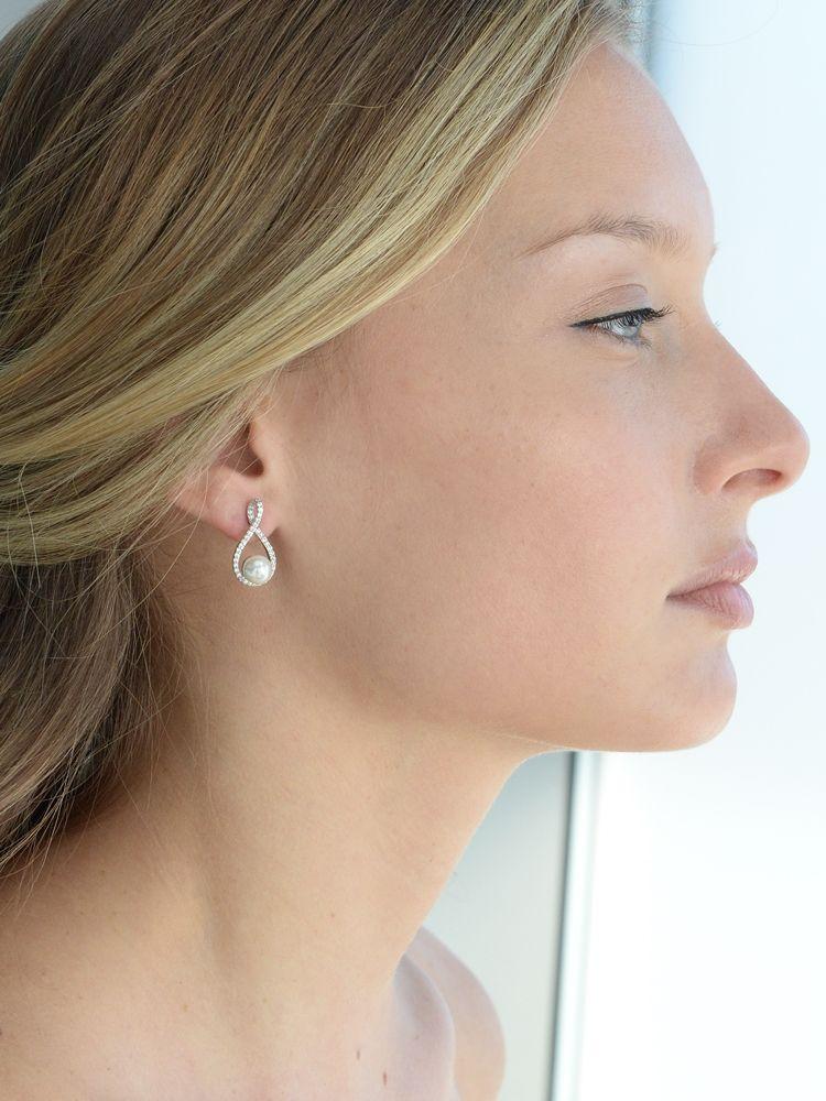 Eternity Symbol Cubic Zirconia Wedding Earrings With Pearl