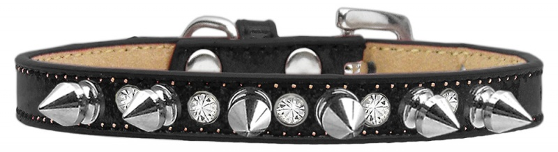 Crystal And Silver Spikes Dog Collar Black Ice Cream Size 12