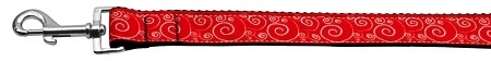 Red And White Swirly Nylon Ribbon Dog Collars 1 Wide 6ft Leash