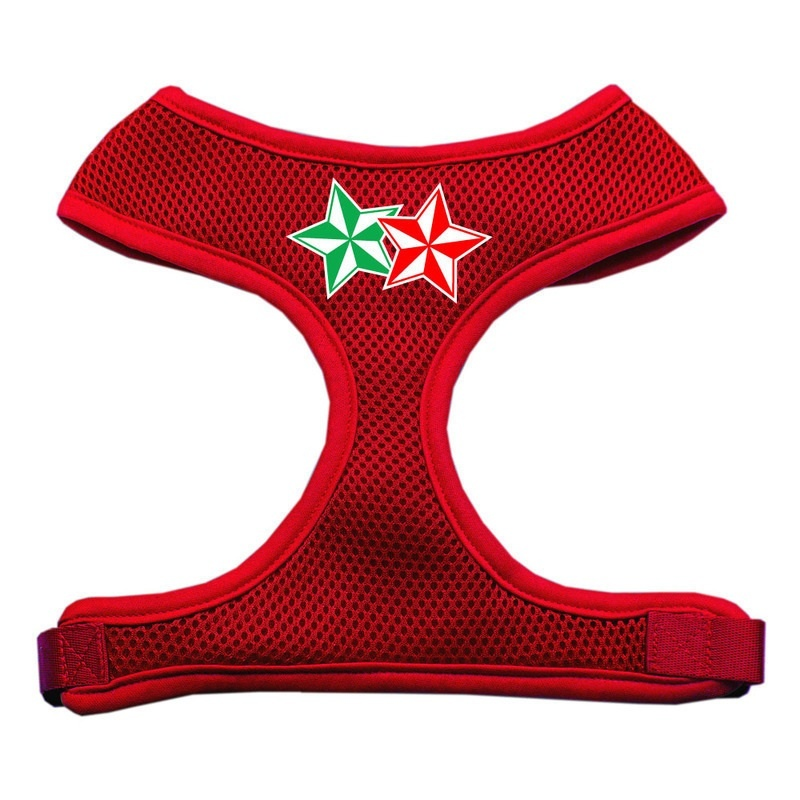 Double Holiday Star Screen Print Mesh Pet Harness Red Large