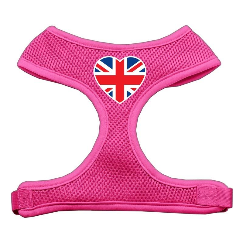 Heart Flag Uk Screen Print Soft Mesh Pet Harness Pink Medium