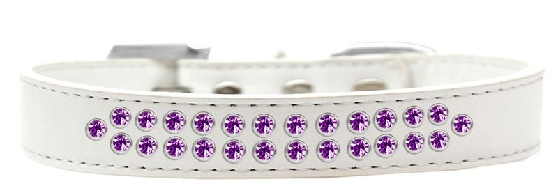 Two Row Purple Crystal Size 18 White Dog Collar