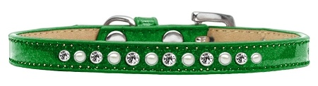 Pearl And Clear Crystal Size 10 Emerald Green Puppy Ice Cream Collar