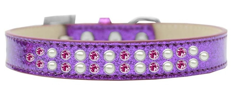 Two Row Pearl And Pink Crystal Size 18 Purple Ice Cream Dog Collar