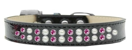Two Row Pearl And Pink Crystal Size 18 Black Ice Cream Dog Collar