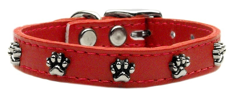 Paw Leather Dog Collar Red 20