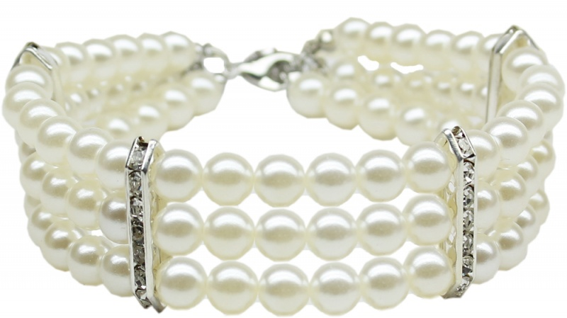 Three Row Pearl Necklace White Lg (12-14)