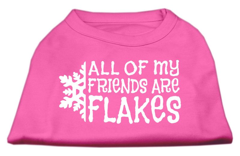 All My Friends Are Flakes Screen Print Shirt Bright Pink Xxl