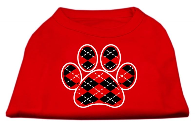 Argyle Paw Red Screen Print Shirt Red Xs