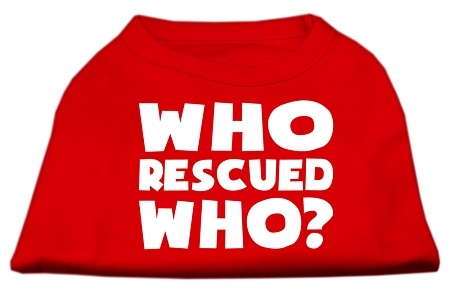 Who Rescued Who Screen Print Shirt Red Sm