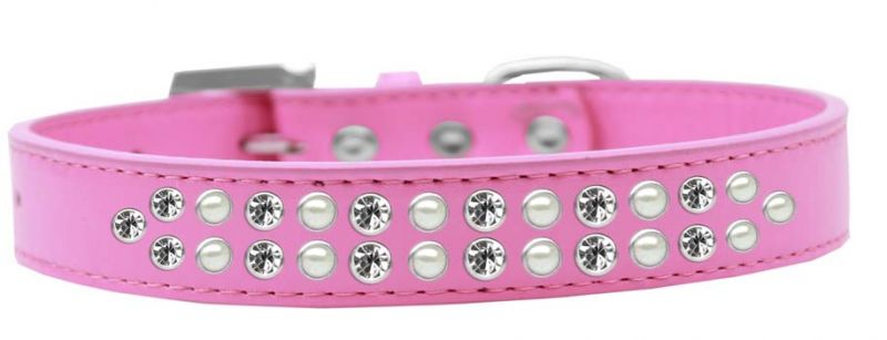 Two Row Pearl And Clear Crystal Size 18 Bright Pink Dog Collar