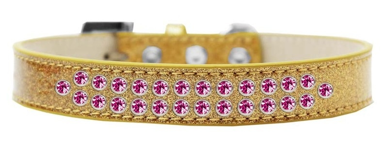 Two Row Bright Pink Crystal Size 18 Gold Ice Cream Dog Collar