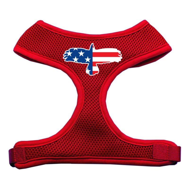 Eagle Flag Screen Print Soft Mesh Pet Harness Red Extra Large