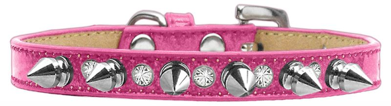 Crystal And Silver Spikes Dog Collar Pink Ice Cream Size 10