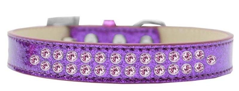 Two Row Light Pink Crystal Size 16 Purple Ice Cream Dog Collar
