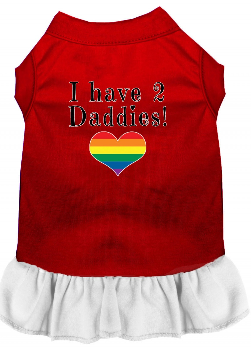 I Have 2 Daddies Screen Print Dog Dress Red With White Lg