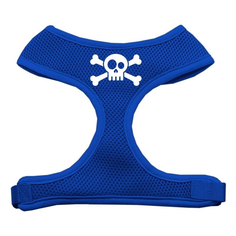 Skull Crossbones Screen Print Soft Mesh Pet Harness Blue Medium