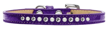 Pearl And Clear Crystal Size 12 Purple Puppy Ice Cream Collar