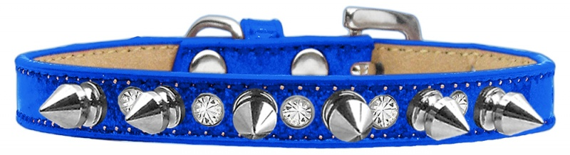 Crystal And Silver Spikes Dog Collar Blue Ice Cream Size 12