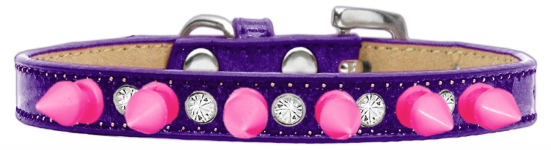 Crystal And Bright Pink Spikes Dog Collar Purple Ice Cream Size 16