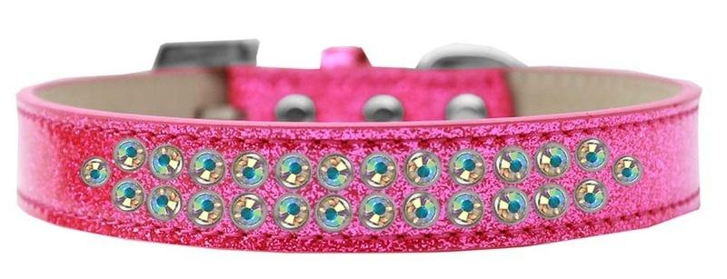 Two Row Ab Crystal Size 16 Pink Ice Cream Dog Collar