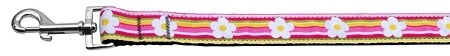 Striped Daisy Ribbon Dog Collars 1 Wide 6ft Leash