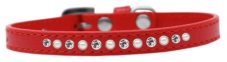 Pearl And Clear Crystal Size 16 Red Puppy Collar