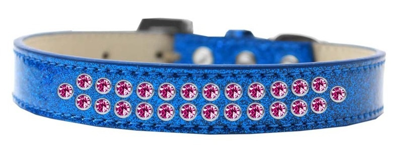 Two Row Bright Pink Crystal Size 20 Blue Ice Cream Dog Collar