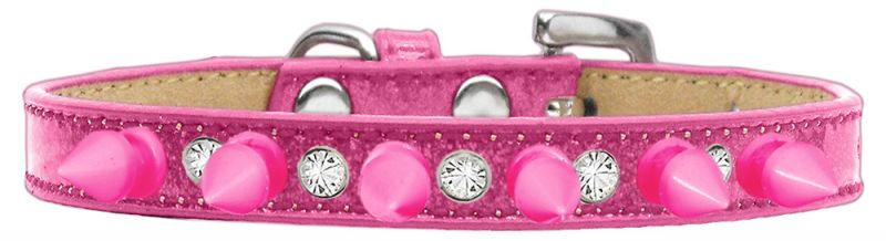 Crystal And Bright Pink Spikes Dog Collar Pink Ice Cream Size 12