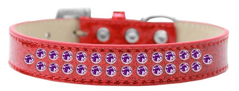 Two Row Purple Crystal Size 20 Red Ice Cream Dog Collar