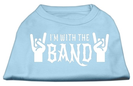 With The Band Screen Print Shirt Baby Blue Sm