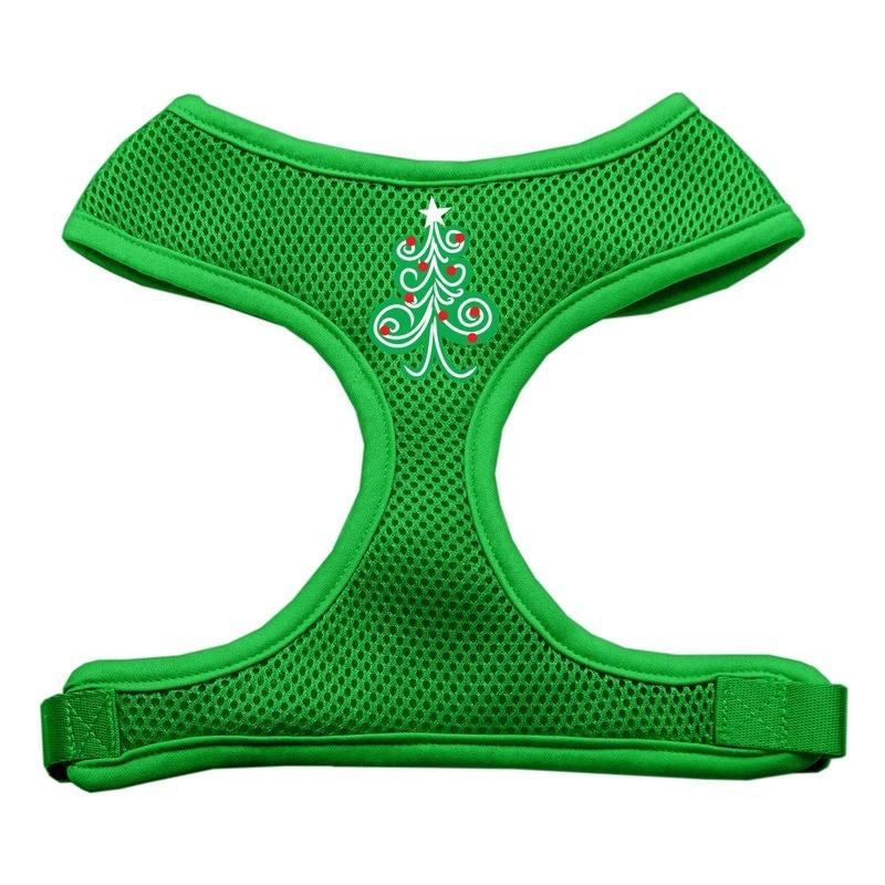 Swirly Christmas Tree Screen Print Soft Mesh Pet Harness Emerald Green Medium