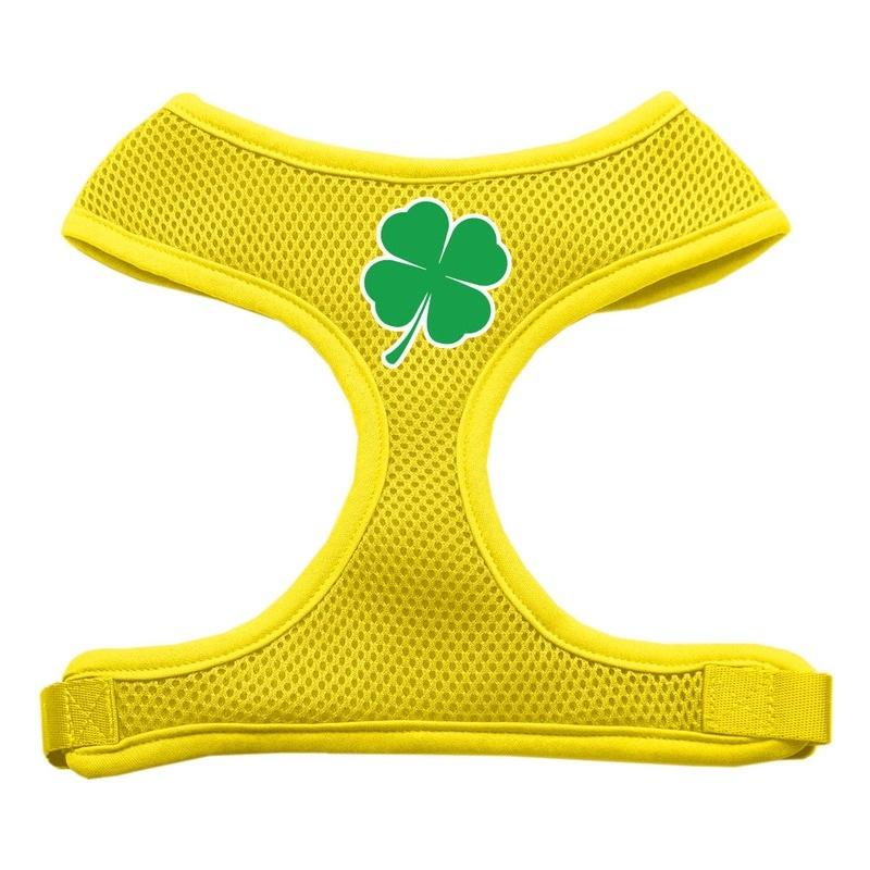 Shamrock Screen Print Soft Mesh Pet Harness Yellow Extra Large